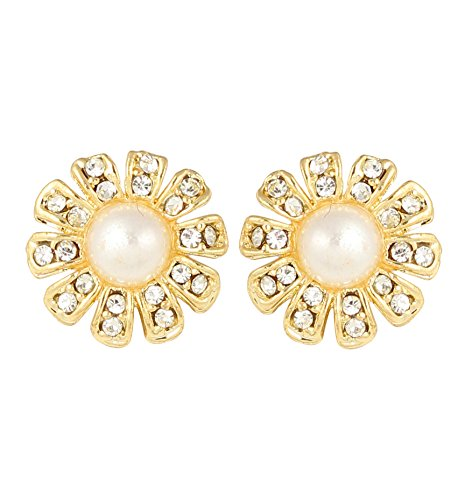 Touchstone Faux Pearl & Austrian Diamond Earrings For Women