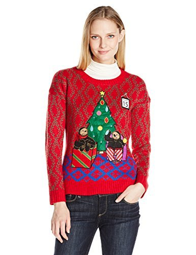 Blizzard Bay Women's Tardly Sloths LED Light-up Ugly Christmas Sweater, Red/Blue, L