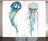 Waple Cortinas opacas ojete para sala de estar Cortina de medusas, medusas Vida marina Animal acuático Pintura de acuarela Gráfico de trama 280*180cm Cortinas Opacas impresión Digital Aislamiento térm