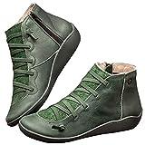 Botas de tobillo de cuero planas para mujer otoño invierno cómodo arco soporte zapatos antideslizante impermeable al aire libre botas zapatos, color Verde, talla 40 EU