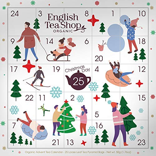 DEU English Tea Shop Advent Calendar with Composable Images Christmas Tea in Box - 1 x 25 Tea Bags (50 Grams)