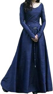 chenshiba-AU Womens Medieval Renaissance Retro Night Gown Slim Party Dress