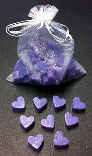Florex Schafmilchseife Lot de 50 mini mini savons en forme de cœur lavande et citron vert dans un sachet en organza
