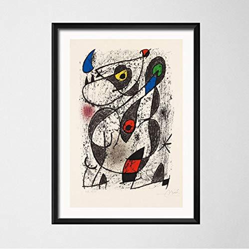 QINGRENJIE Cuadro de Arte de Pared Pintor Famoso Pinturas de Arte del surrealismo Moderno Cuadro Abstracto Pintura de Arte Retro Lienzo Póster Pared Decoración para el hogar A3 (30X42 Cm)  Sin Marco