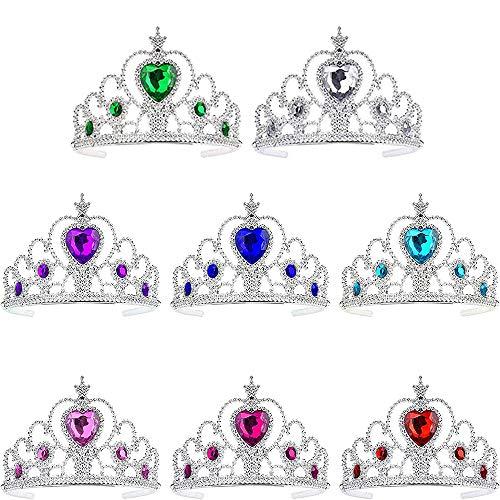 Niños Princesa Tiara,Crown Party Crown Set 8 Piezas Corona Conjunto Dress up Accesorios para Niñas Cumpleaños Fiesta