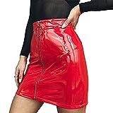 Carolilly Minifalda de Mujer con Cremallera Falda de Cintura Alta Lápiz Corto Elegante Moda (Rojo, L)