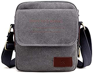 Men's Canvas Bag Shoulder Slung Small Bag Fashion Sports and Leisure Multi-Function Carry Bag Men's Outdoor Small Bag (Color : Grey)
