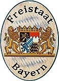 Kaltner Präsente Geschenkidee - Holz Geschenkartikel Deko Türschild im Antik Design Dekoartikel Motiv Wappen FREISTAAT Bayern (Ø 18 cm)