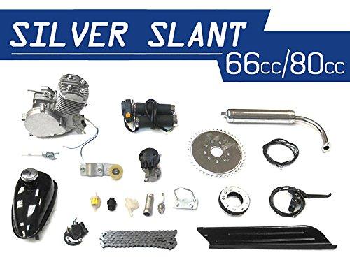 KingsMotorBikes Silver Slant 66cc/80cc Bicycle Engine Kit (Black)
