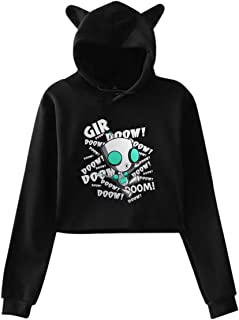 Invader Zim Gir Doom Printed Girls Hipster Cat Ear Hoodie Sweater Trendy Black Sweatshirt Hoodies