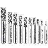10pz 4-flute End Mill bit, Afunta 0,2cm–1,2cm HSS CNC codolo cilindrico punte cutter Tool set per legno alluminio acciaio titanio