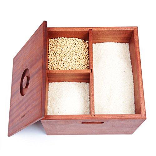 ZWL Boîte de rangement de grain, Boîte de riz en bois solide Boîte de rangement de céréales Pest Control Préservation de l'humidité Préservation de la cuisine Ménage Grain Boîte de rangement 36 * 36 * 29.5CM Récipient sain de stockage de céréales ( Capacité : 20KG )