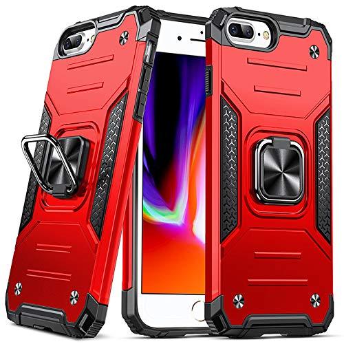 DASFOND Diseñado para iPhone 6 Plus / 6S Plus / 7 Plus / 8 Plus Funda, Funda Protectora para teléfono de Grado Militar con Soporte de Anillo Mejorado [Soporte magnético], Rojo