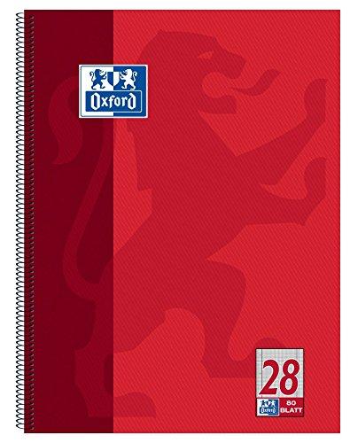 Oxford Schule Collegeblock A4, kariert, 80 Blatt, gelocht, rot, 1 Stück