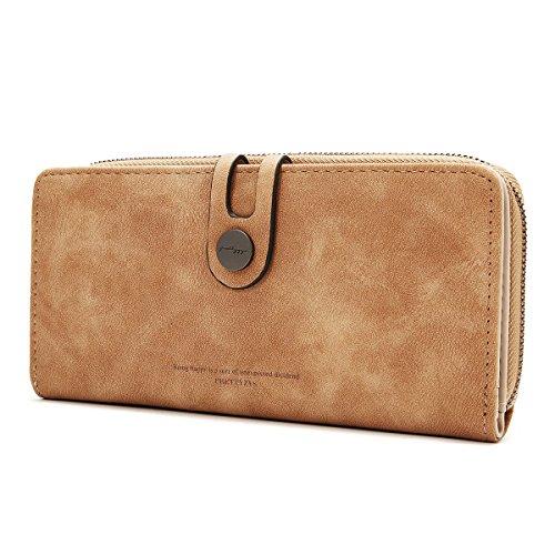 OURBAG Monedero de cuero Vintage Bifold Bolso de embrague Titular de la tarjeta de crédito Billetera larga para mujer Marrón claro