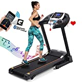 Folding Treadmills for Home, Caroma 2.25HP Electric Motorized Foldable Running Machine with 9MPH,16.4'' Ultra-Wide Belt,Automatic Lubrication,3-Level Incline, LCD Display,Bluetooth APP Control (Black)