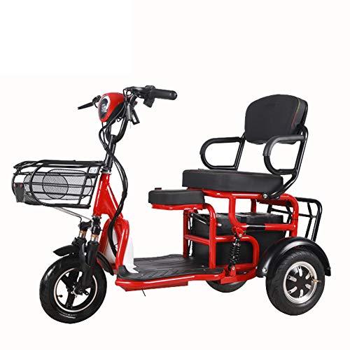 WM Erwachsenes elektrisches Dreirad 10-Zoll-3-Rad-Klapprad mit Kindersitz Eltern-Kind-Auto 500w48v 20ah Älteres tragbares Dreirad,Rot