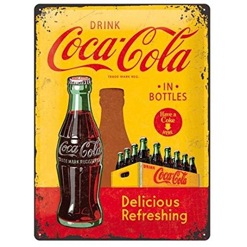 Nostalgic-Art 23195 Coca-Cola – in Bottles Yellow – Idée de Cadeau pour Les Fans de Coke, en métal, Déco Design Retro, 30 x 40 cm
