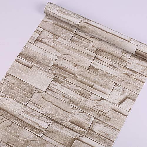LZYMLG Carta da parati effetto muro di mattoni in pvc retrò ristorante camera da letto soggiorno dormitorio autoadesivo carta da parati TV sfondo adesivo Marrone chiaro 45cm*10m