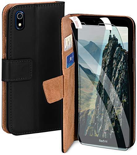 moex Handyhülle für Xiaomi Redmi 7A - Hülle mit Kartenfach, Geldfach & Ständer, Klapphülle, PU Leder Book Hülle & Schutzfolie - Schwarz