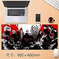 日本のアニメ拡張大ナルト暁プロフェッショナルEsportsもゲームマウスパッド厚みのすべり止めラバーベース布コンピュータ耐水性マウスマットで縫製エッジのアニメファンのギフト90 * 40センチメートル (サイズ : Thickness: 4mm)