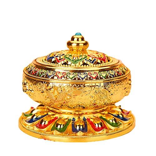 JONJUMP Tibetischer Buddhismus Supplies Handbemalung, 8 verheißungsvolle Symbole des Buddhismus, Lotus, Räuchergefäß, Mehrzweck-Aroma-Ofen