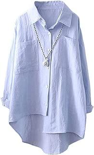 Women's Linen Shirt Blouse Casual Button-Down Hi-low Tunic Tops