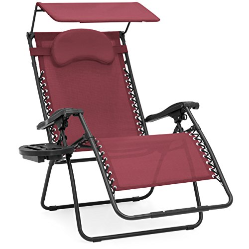 Best Choice Products Oversized Steel Mesh Zero Gravity Reclining Lounge Patio Chair w/Folding Canopy Shade and Cup Holder, Red