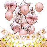 Oblique Unique® Candybar Hochzeit JGA Baby Shower Geburtstag Party Feier Deko Set - Candybar Girlande + Konfetti Folien Luftballon Set + 1000 STK. Papier Konfetti in Roségold Gold Weiß Champagner