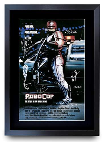 HWC Trading Poster mit Autogramm, A3 FR RoboCop The Cast Peter Weller und Nancy Allen Geschenke, gerahmt, A3