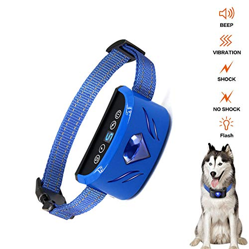 Dog Bark Collar,Anti-Barking Collar,Rechargable Waterproof 7 Adjustable Sensitivity Levels Dog Bark Collar with Beep Vibration and Harmless Shock Best No Barking Control Dog Collars