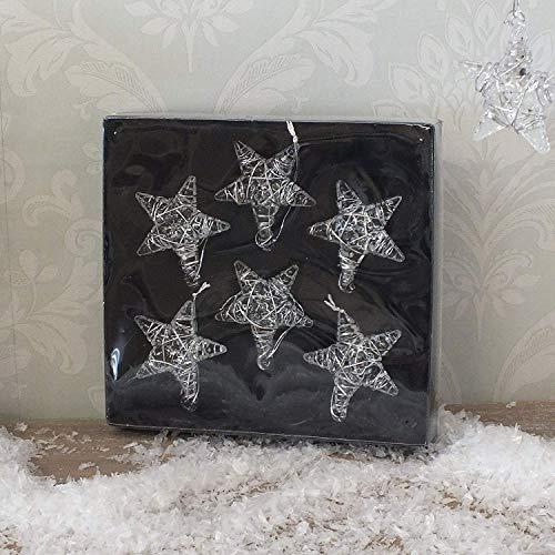 Set of 6 Glass Star Christmas Decorations (4.5cm)