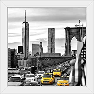 CANVAS ON DEMAND New York City - Yellow Taxis White Framed Art Print, 19