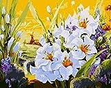 WYTCY Bouquets De À Colorier en Chiffres Fleurs Art Toile Peinture avec des Peintures Acryliques pour La Décoration du Salon 40x50cm