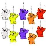 10 ciondoli catarifrangenti con anello portachiavi a forma di orsetto, riflettori di sicurezza per bambini, per zaini, giacche, zaini, ciclismo, passeggiate, corsa, passeggini