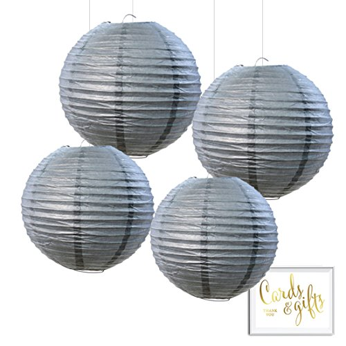 Andaz Press Hanging Paper Lantern Party Decor Kit with Free Party Sign, Gray, 4-Pack, Boy Girl Elephant Baby Shower Wedding Bridal Shower Colored Event Classroom Supplies