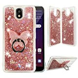 LG Escape Plus Clear Case, ZASE Liquid Glitter Sparkle Bling Waterfall Cover for LG Escape Plus/LG K30 2019/LG Arena 2 Cute Girls Women Protective Slim Cover w/Phone Ring Holder Stand (Pink Rose)