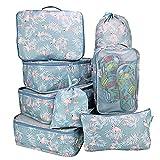 Belsmi Reise Kleidertaschen Set 8-teilig Reisetasche in Koffer Reisegepäck Organizer Kompression Taschen Kofferorganizer Mit Schuhbeutel (Grau Flamingo)