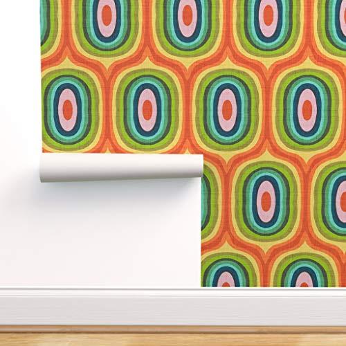modern, bunt, 70er Jahre, 60er, mehrfarbig, modern, Regenbogen, Mitte des Jahrhunderts Spezialangefertigte Selbstklebende Tapete 61 cm x 30 cm von Spoonflower