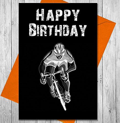 Geburtstagskarte Radfahrer–Einzigartiges Kreidetafel Effekt Grußkarte
