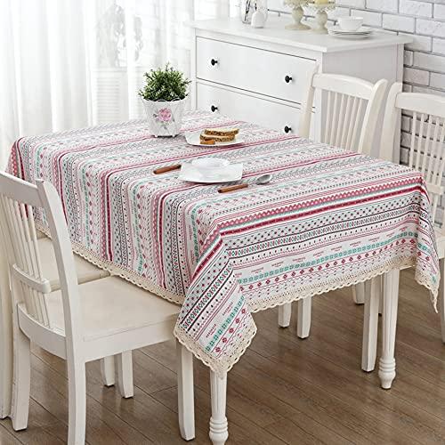 Mantel Bohemio de Lino de algodón Mantel de Cocina decoración del hogar Mantel de Encaje étnico Mantel geométrico exótico D3 140x240cm