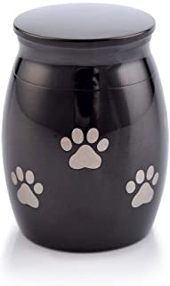 Sunling Paws Footprints Engraved Small Stainless Steel Decorative Memorial Keepsake Cremation Urns Jar for Human Pet Ashes...