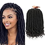 (12 inch,1B,60g/pack,24Roots/pack) BaiHong Short Faux Locs Crochet Hair 6 packs Straight Pre-Looped Goddess Locs Crochet Hair with Curly Ends Bohemian Locs Starter(12 inch, 1B)