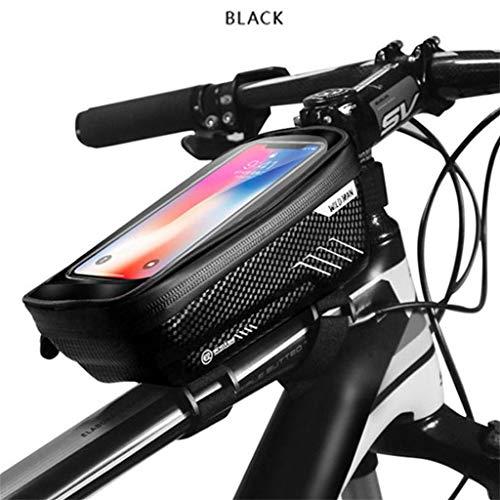 MMLC 1L Rahmentaschen WILD Man Mountainbike Tasche regenfest wasserdicht Emtb Front Tasche 6,2 Zoll Handy Tasche Fahrrad Top Tube Tasche Radfahren Zubehör (Black)