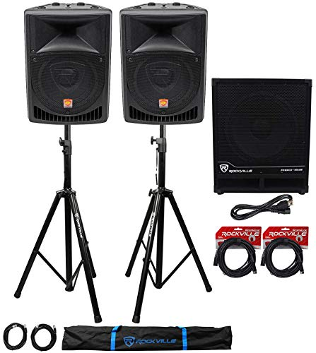 """(2) Rockville RPG8 8"""" Powered PA Speakers+Active 15"""" Subwoofer+Stands+Cables"""