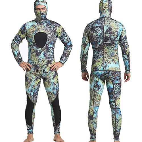 Lunch Box Wetsuit - Traje de neopreno para hombre (1,5 mm, neopreno, 2 piezas, con capucha, manga larga, para buceo, cuerpo completo, mantiene el calor, A, M