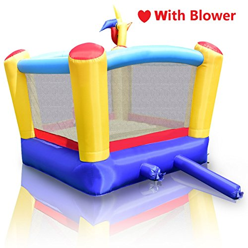 GYMAX Bouncy Castle Kids Inflatable House Sports Jumping Bouncer W/ Windmill + Blower