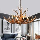 Lámpara colgante vintage E14 con cuernos de ciervo y resina de estilo retro para cafetería, restaurante, pasillo, dormitorio