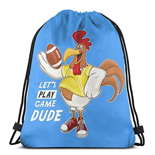 Rooster Play - Mochila de viaje con cordón para hombre y mujer, bolsa de deporte portátil para camping, senderismo, compras, playa, viajes, 36 x 43 cm