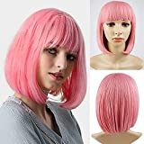 Pink Wig with Bangs Pink Bob Wigs Cosplay Pink Hair Wig for Women Pink Wig Shoulder Length Natural Bob Hair Wig Colorful Costume Pink Wigs (Mix Pink)